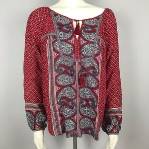 Lucky Brand Red Paisley Peasant Top XL